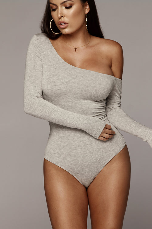 Grey Lynne One Shoulder JLUXBASIX Bodysuit