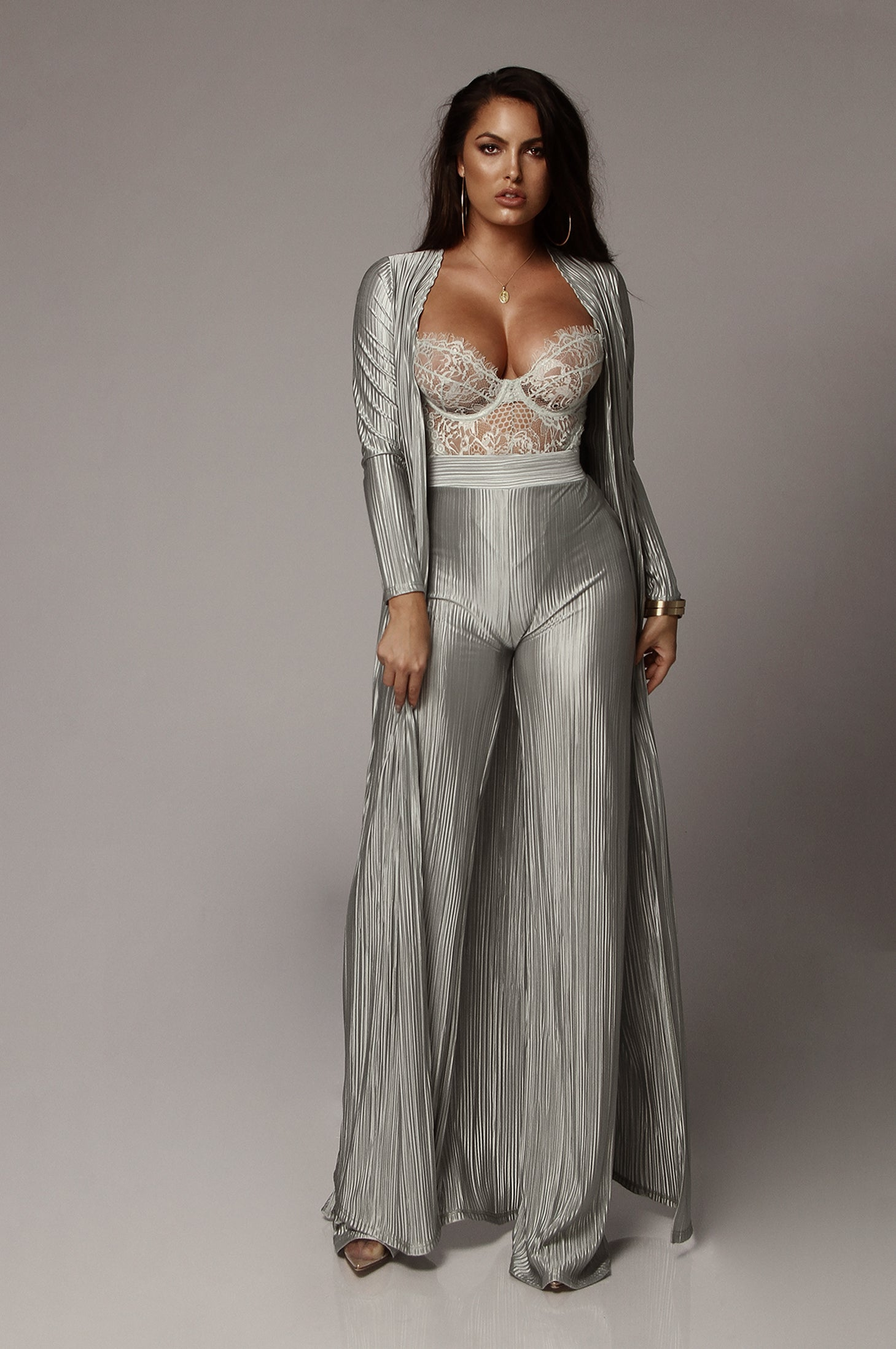 Jade Champagne Draped Duster