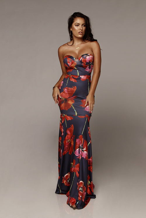 Navy Josie Floral Mermaid Maxi