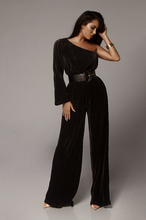 Black Mae One Shoulder Pleated Jumpsuit
