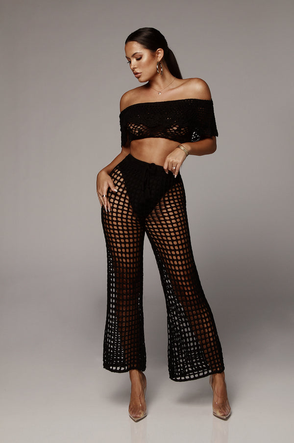 Black Maldives Crochet Pants