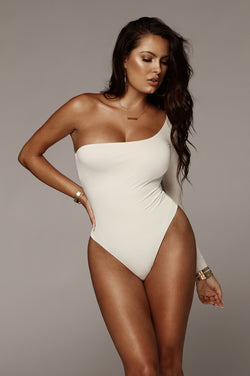 Ivory Marvel JLUXBASIX One Shoulder Bodysuit