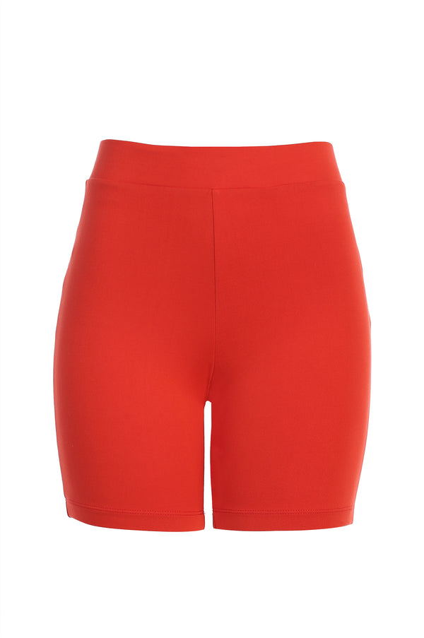 RED DOUBLE LAYER CYCLING SHORTS