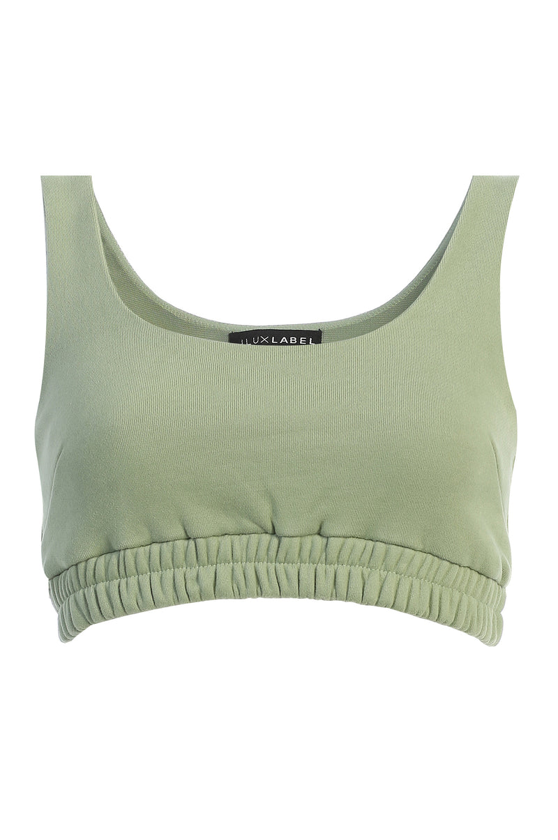 SAGE NADALA FLEECE CROP TOP
