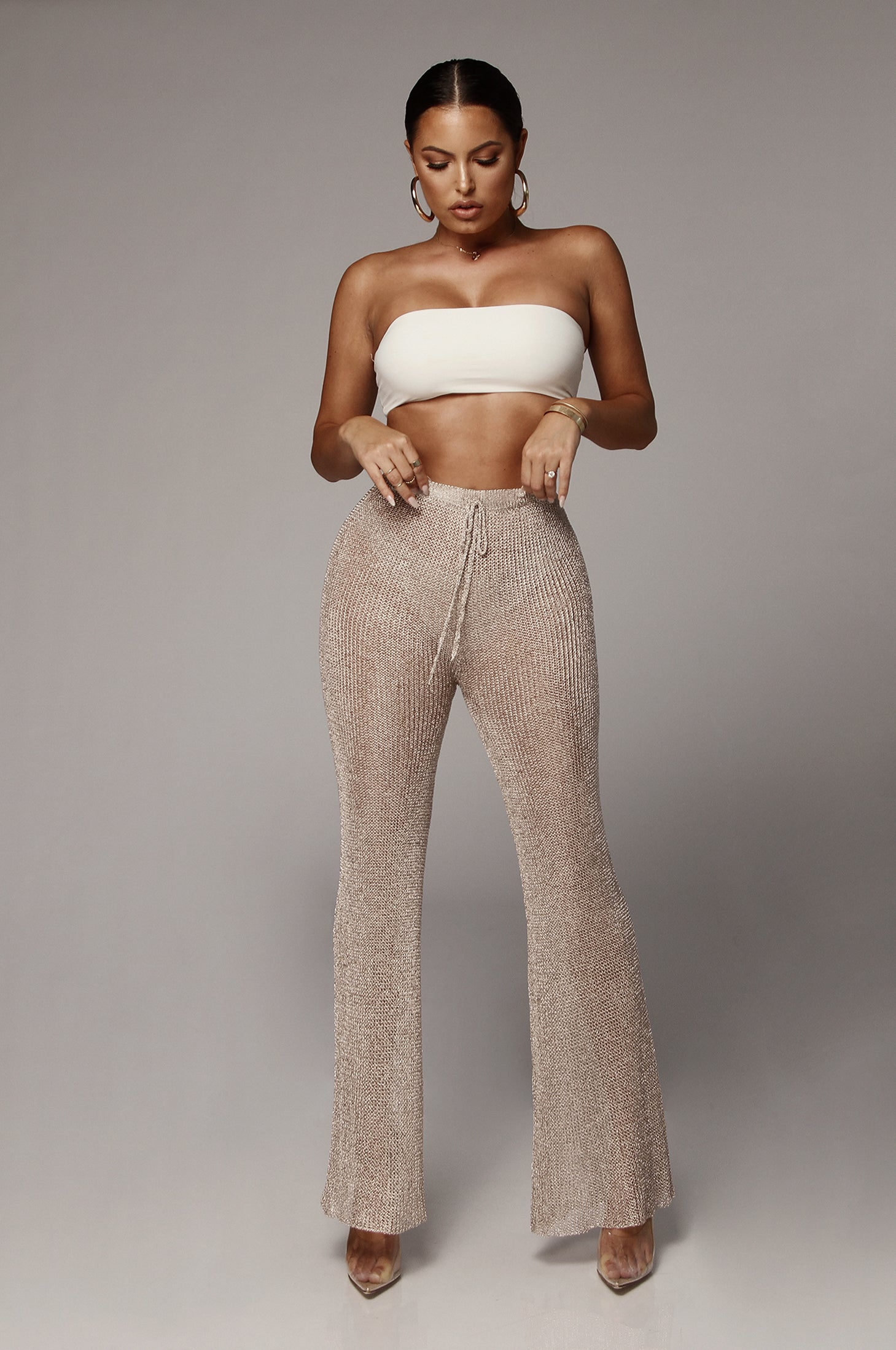 Sparkling Rose Metallic Knit Pants