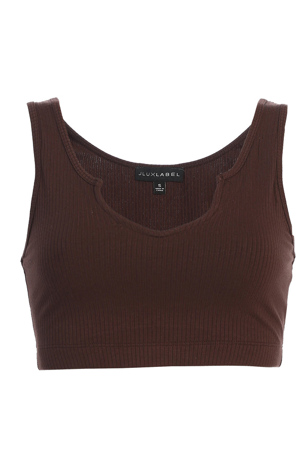 BROWN SPLIT RIBBED CROP TOP