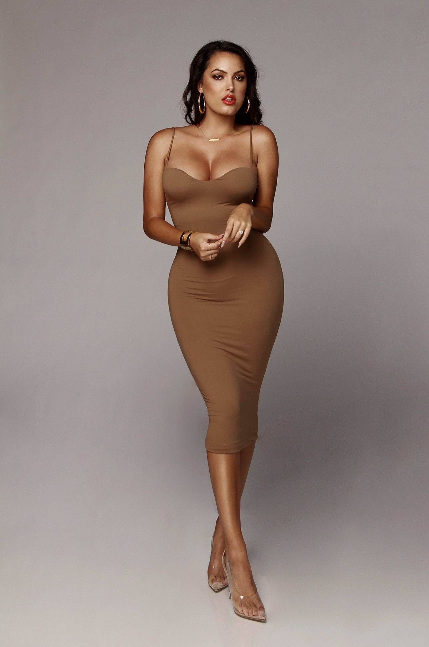 Mocha JLUXBASIX Sweetheart Midi Dress