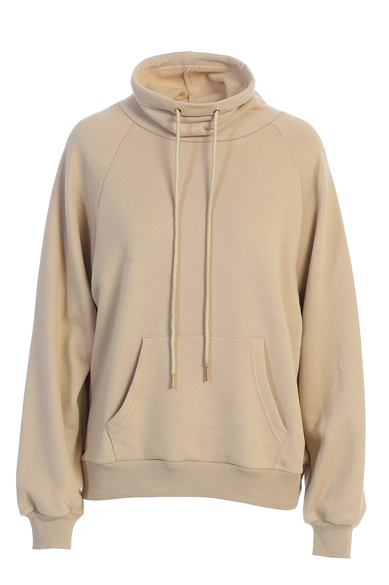 BEIGE UNISEX TEARLY OVERSIZED PULLOVER