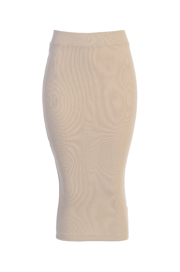 TAUPE MATEUS KNIT RIBBED SKIRT