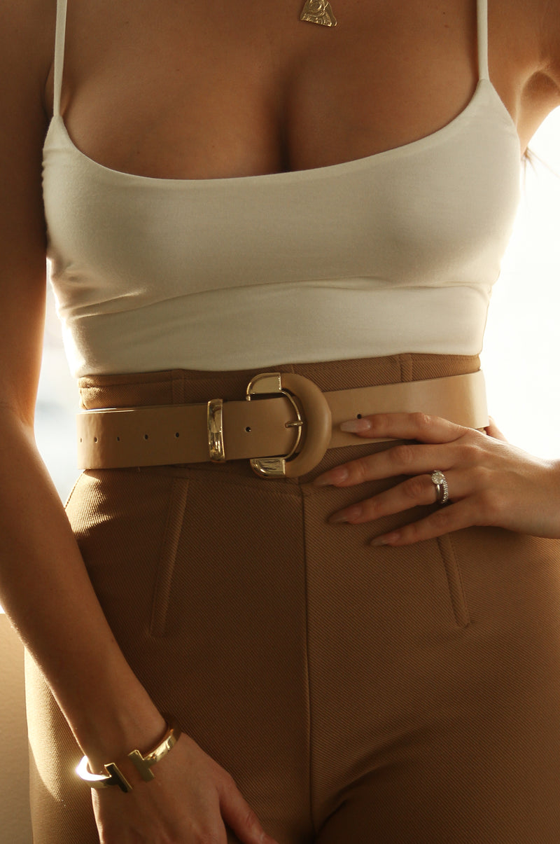 Beige Metal-Tipped  Belt