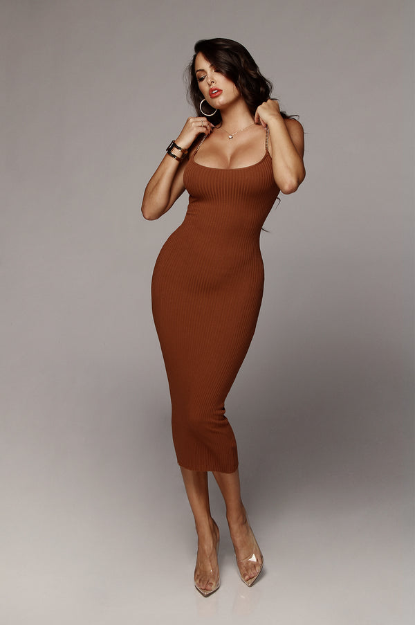 Rust Two Chains Ribbed Dress