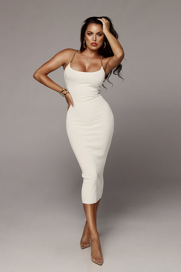 White Two Chains Ribbed Dress