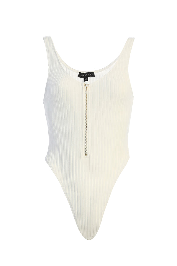 IVORY CHRISTAL ZIP UP BODYSUIT