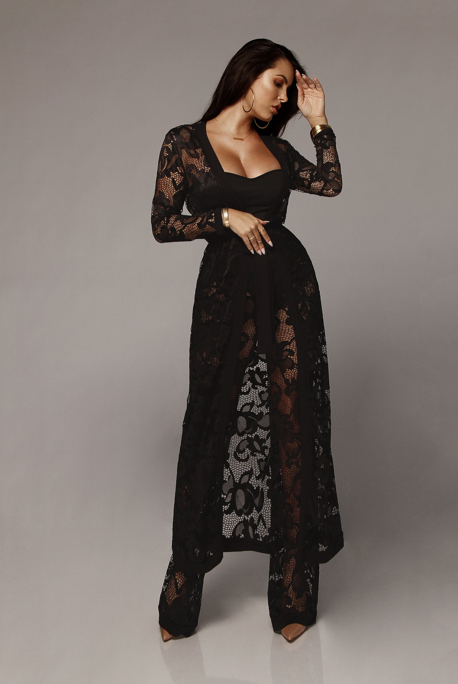 Black Zoey Lace Duster