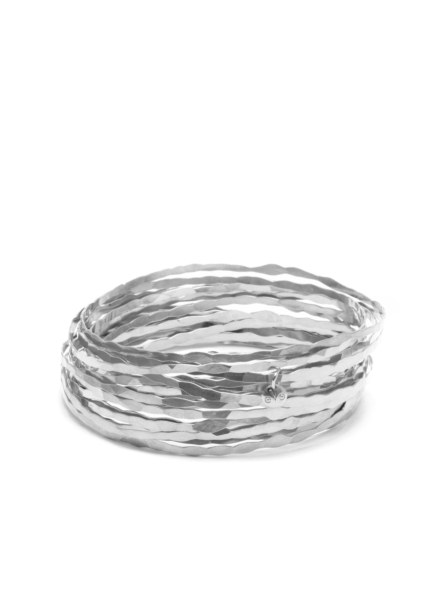 ECHO CHIC - Hammered grass bracelet Rose / rhodium