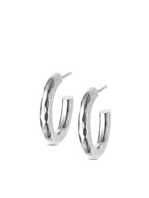CLEAN LANES - Hammered circle hoops Rose / rhodium / black rhodium