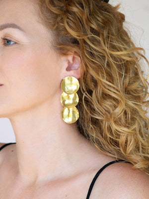 RUSTIC FINISH - Sun triple earrings