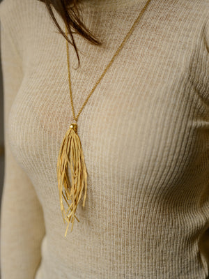 ECHO CHIC - Hammered grass necklace Rose / rhodium