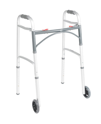 Folding Walker, Two-Button with Wheels-Low Height (Pre-Assembled)