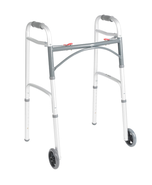 Folding Walker, Two-Button with Wheels-High Height (Pre-Assembled)