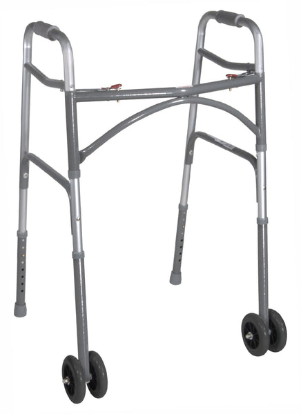 Bariatric Two-Button Folding Walker with Wheels
