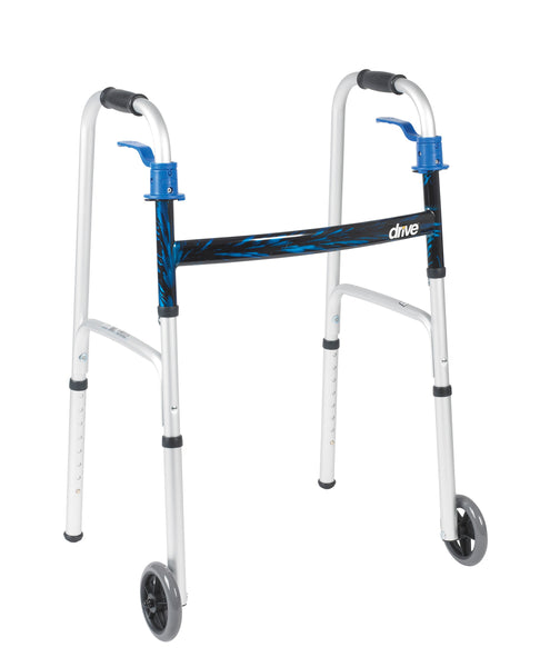 "Folding Walker with 5"" Wheels and Trigger Release-High Height"