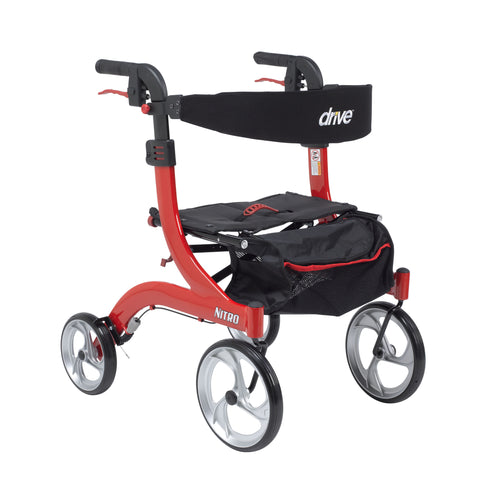 Nitro Euro Style Walker Rollator, Hemi Height, Red