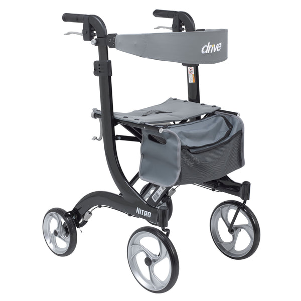 Nitro Euro Style Walker Rollator, Tall, Black