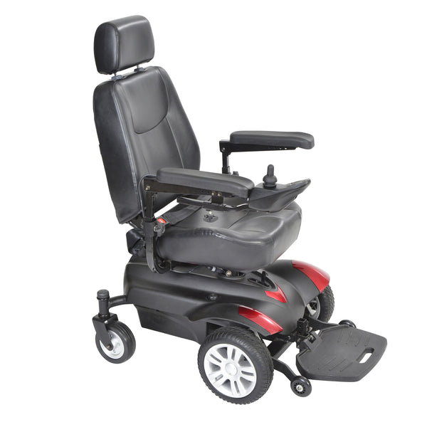 "Titan Transportable Front Wheel Power Wheelchair, Full Back Captain's Seat, 18"" x 16"""