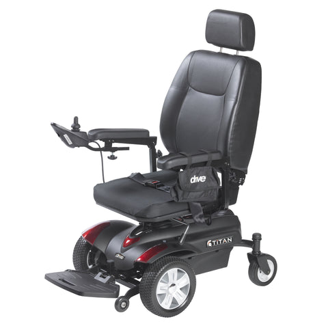 "Titan Front Wheel Power Wheelchair, Pan Seat, 18"" x 18"""