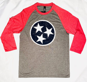 Red, White and Blue Tri-Star 3/4 sleeve Baseball Tee