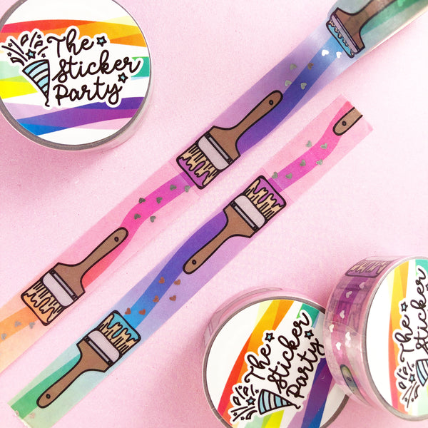 Rainbow Paint Brush Silver Foiled Washi Tape