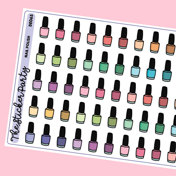 Nail Polish Planner Stickers | Manicure Pedicure Manipedi Planner Stickers