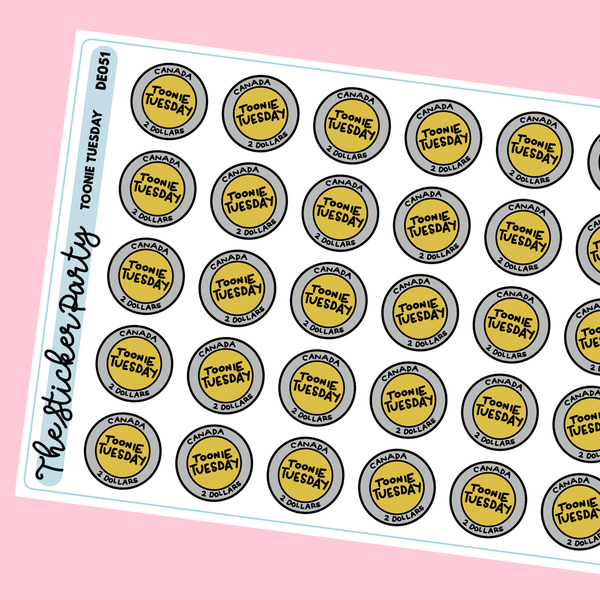 Toonie Tuesday 2 Dollar Tuesday Planner Stickers