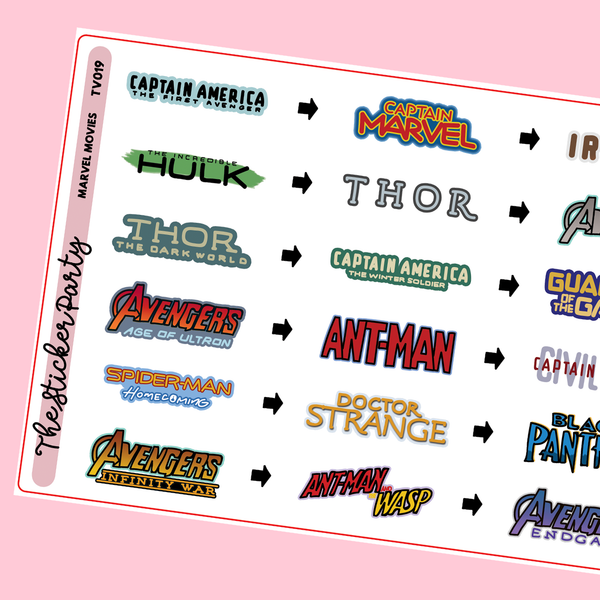 Marvel Planner Stickers Marvel Movies Chronological Order