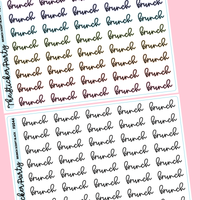 Brunch Planner Stickers Brunch Script Stickers | Black & Colorful Options
