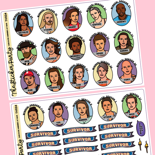 Survivor Winners At War Survivor TV Show Planner Stickers Kit Season 40