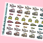 Transportation Planner Stickers | Plane Bus Uber Taxi Train