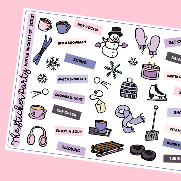 Winter Bucket List Planner Stickers
