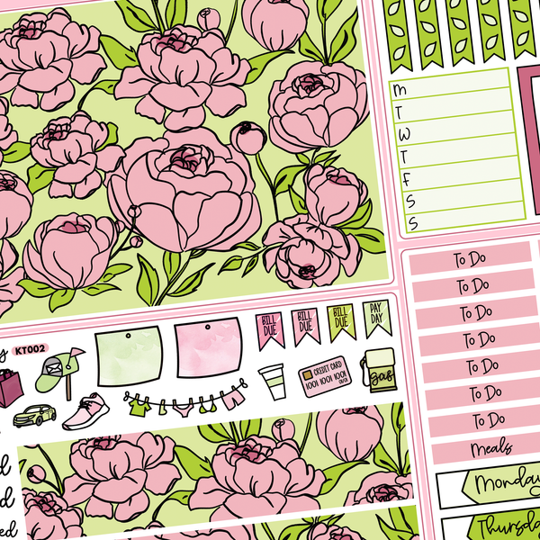 Pink Peony Kit for Erin Condren Vertical Life Planner