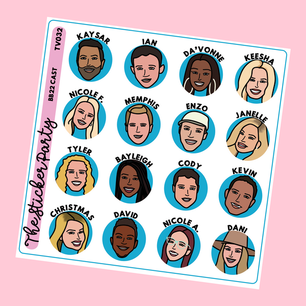 Big Brother All-Stars 2 Cast Doodles Big Brother US TV Show Planner Stickers #BB22
