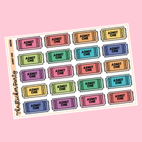 Admit One Movie Ticket/Carnival Planner Stickers
