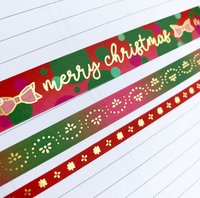 Merry Christmas Gold Foil Washi Tape Set of 3
