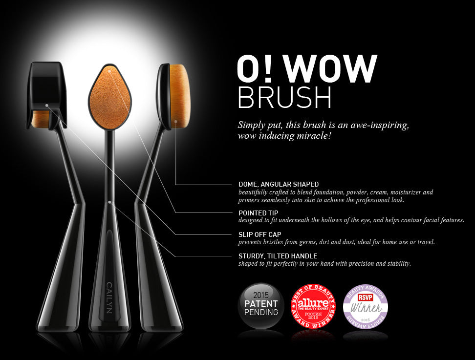 """ /></p> <p><span>Through its velvet-like bristles and densely packed ultra fine fibers, this amazing brush is made to ensure an airbrushed effect, with an immaculate streak-free touch. This brush features a dome, angular shaped surface that is beautifully crafted to blend foundation, powder, cream, moisturizer and primers seamlessly into your skin. The pointed tip is designed to fit perfectly underneath the hollows of the eye, and helps contour your facial features. The sturdy, self-standing handle with a slip off cap prevents bristles from germs, dirt and dusts, making this makeup tool the ultimate travel companion.</span></p> <br> <p><img src=""//cdn.shopify.com/s/files/1/1694/3521/files/DETAIL2-owowbrush_1024x1024.jpg?v=1485689842"" alt="