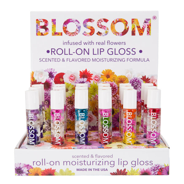 Blossom Roll On Lip Gloss 18 Piece Display - Delicious Kiss