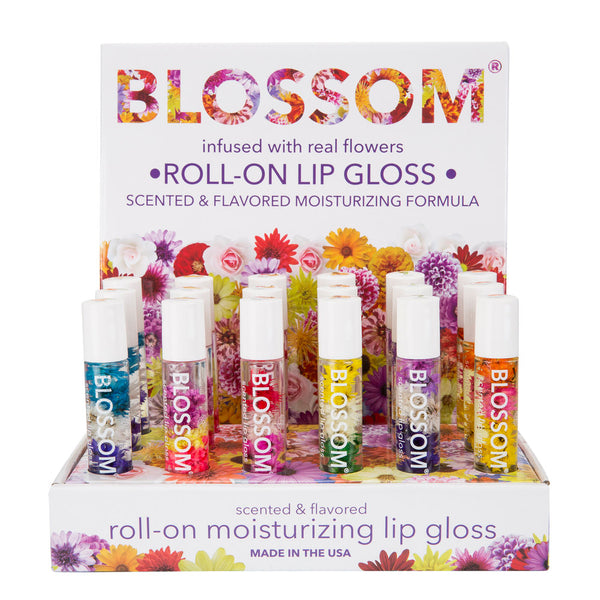 Blossom Roll On Lip Gloss 18 Piece Display - Tropical Fruit