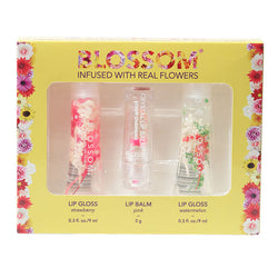 Blossom 3 Piece Gift Set - Moisturizing Lip Gloss & Color Changing Lip Balm (Strawberry, Pink, Watermelon)