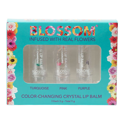 3 Piece Gift Set - Color-Changing Crystal Lip Balm (Turquoise, Pink, Purple)