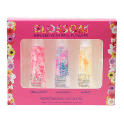 Blossom 3 Piece Gift Set - Moisturizing Lip Gloss (Strawberry, Raspberry, Mango)