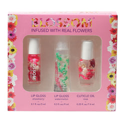 3 Piece Gift Set - Mini Roll-On Lip Gloss, Moisturizing Lip Gloss, Scented Cuticle Oil